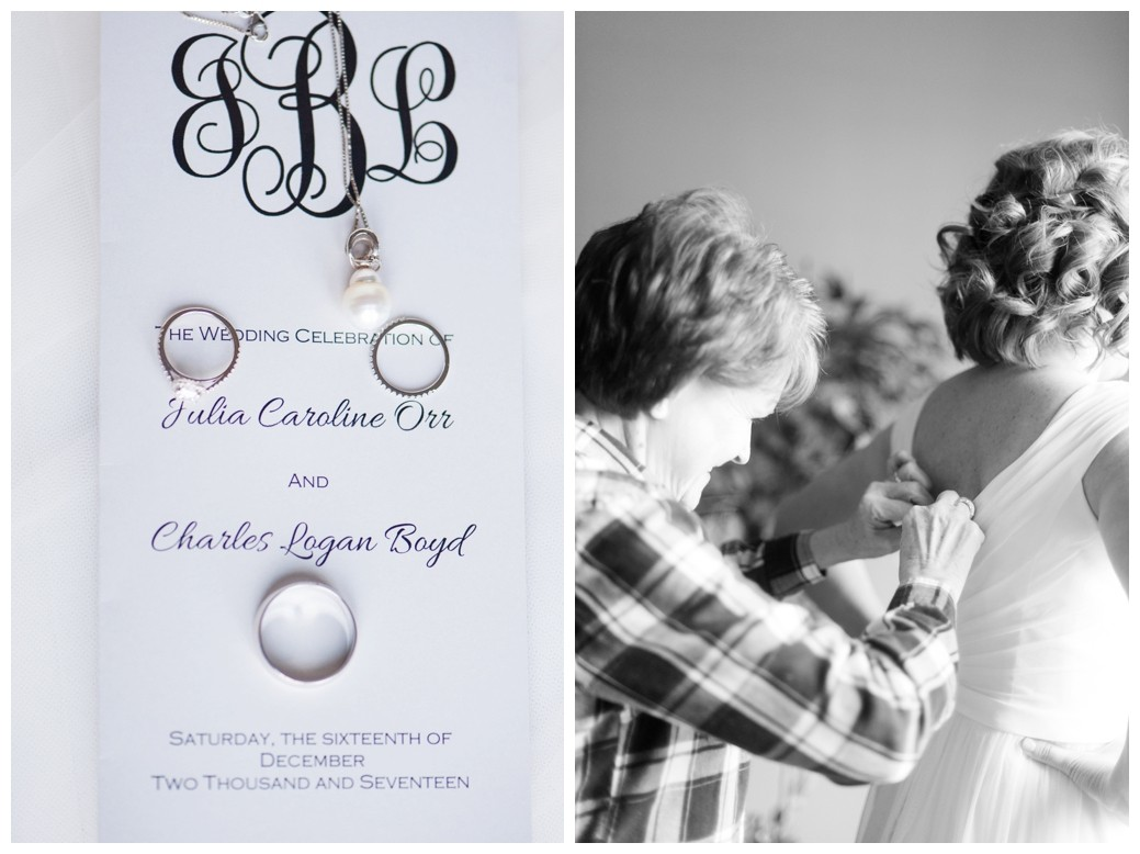 wedding program and rings and mother of the bride helping get dressed