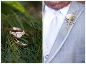 wedding rings in greenery and boutonniere