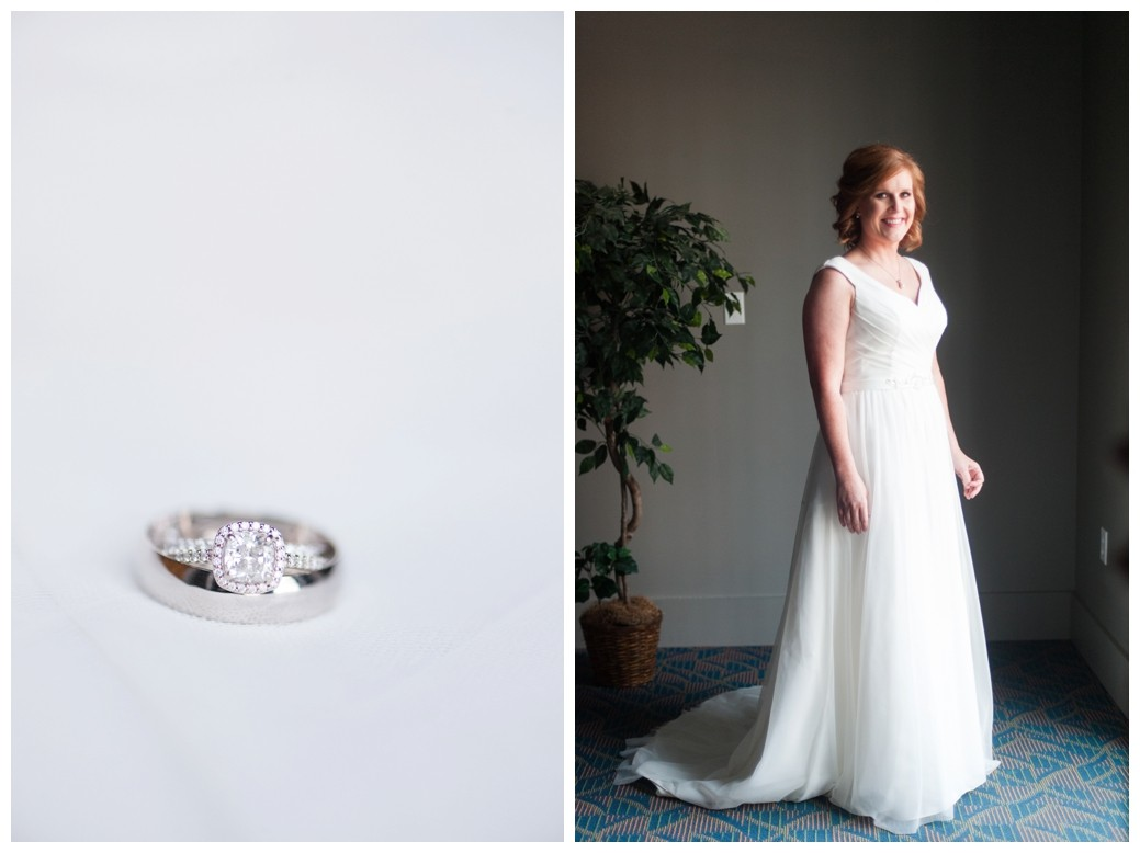 wedding rings on white dress and bride