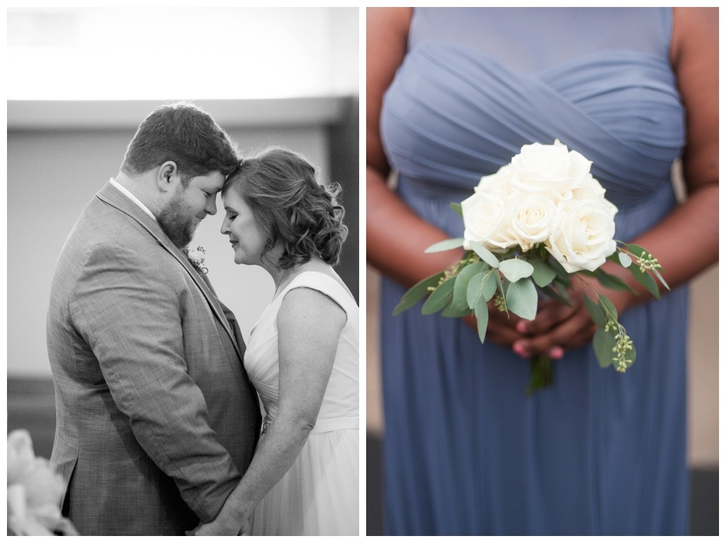 bride and grooms with foreheads together and eyes closed and bridesmaids bouquet