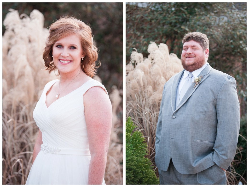 bride and groom by cattails