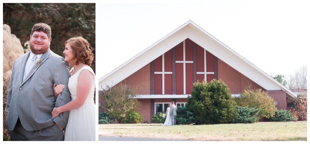 bride holding on to grooms arm looking at him lovingly and front of church
