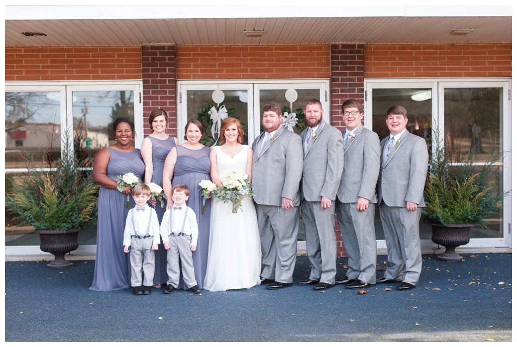 wedding party with ring bearers