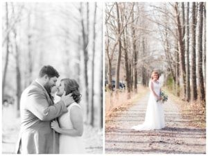 groom holding brides face as they smile at each other and photo of bride on path looking at camera