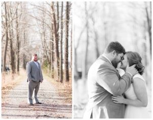 groom on path looking at camera and bride and groom after a kiss