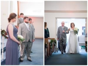groom looking down aisle for bride and bride and father coming in to ceremony