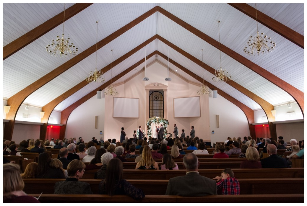 wide shot of sanctuary during a wedding