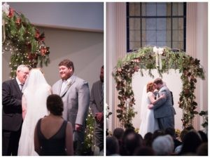 groom smiling at bride at alter and bride and groom kissing at alter