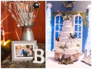 reception decoration of picture and B and wedding cake with greenery and blue background