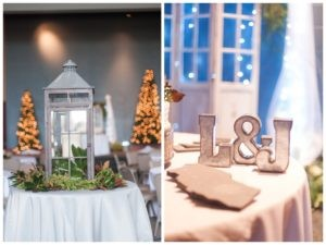 large grey lantern at wedding reception and large L and J on reception table